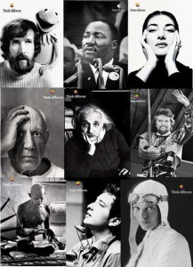 "Composite image of some of the iconic images from Apple's ""Think Different"" campaign."